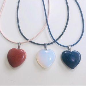 Lapis Lazuli Sand & Opal heart pendant necklace